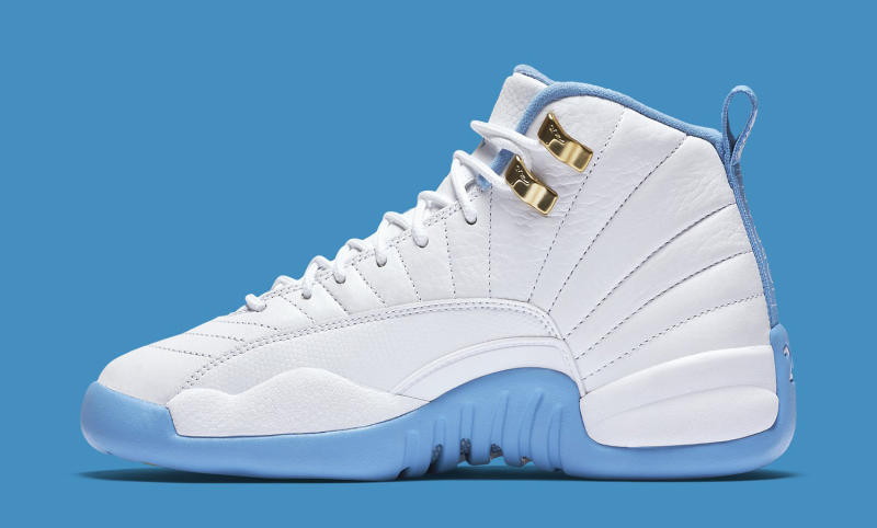 Air Jordan 12 Gs White Metallic Gold University Blue