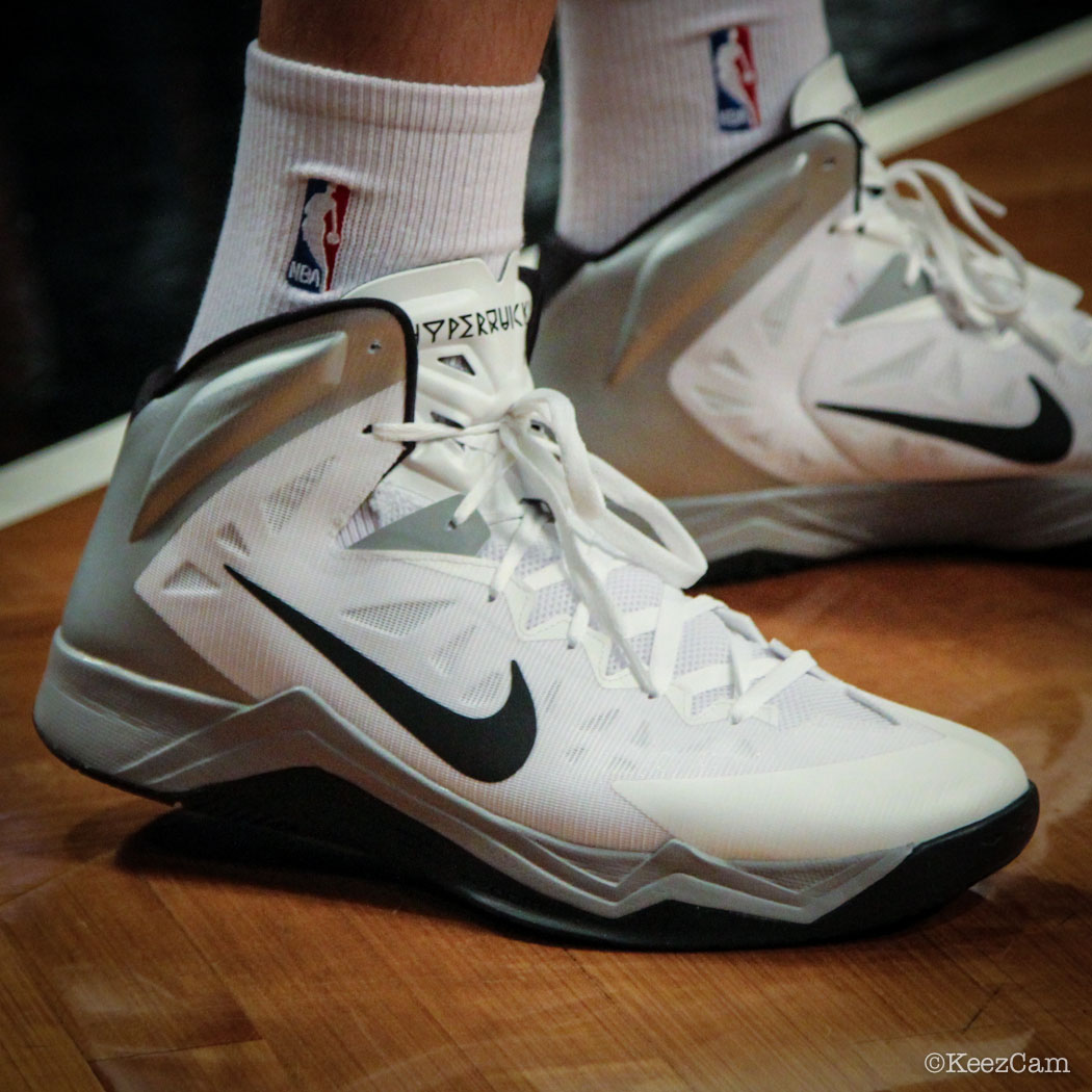 Sole Watch // Up Close At Barclays for Nets vs Bucks - Mirza Teleovic wearing Nike Hyper Quickness