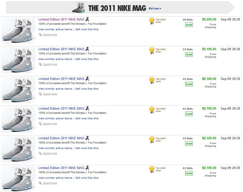 Buy nike mag back to the future price