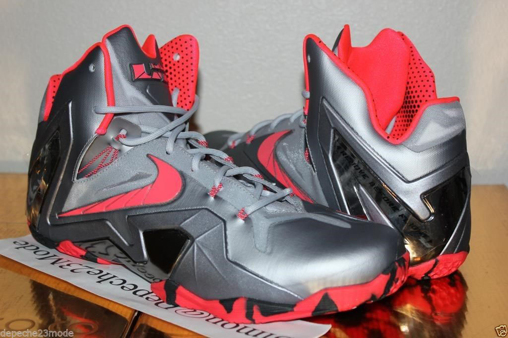 77016057667c2 Nike LeBron 11 Elite Wolf Grey Crimson Cool Grey Black 642846-001 (2)