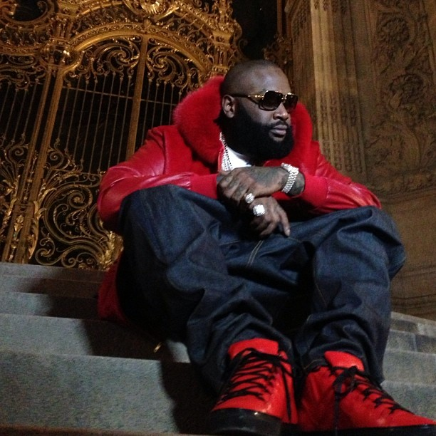 Rick Ross wearing Balenciaga Arena Red/Black