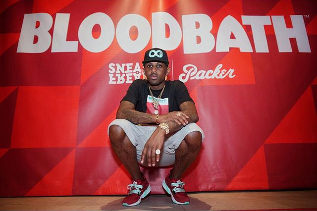 Fabolous wearing the 'Bloodbath' Packer Shoes x Sneaker Freaker x Puma Blaze of Glory