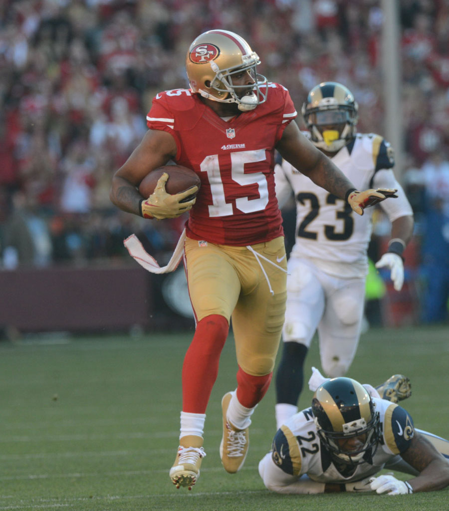 Michael Crabtree wearing Air Jordan 12 49ers Gold PE Cleats (2)