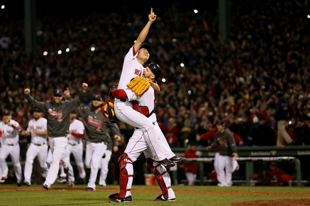 David Ross and Koji Uehara embrace after the final out of the 2013 World Series