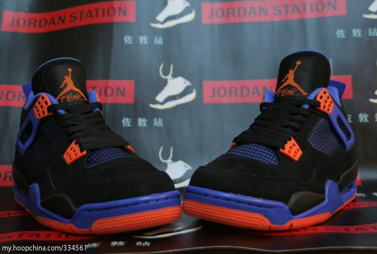 ef283b9a9652 Air Jordan 4 IV Cavs Knicks Shoes Black Orange Blaze Old Royal 308497-027 (