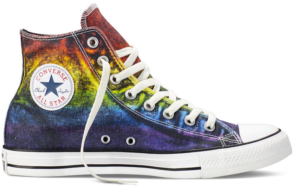 sneakers in gay pride colors