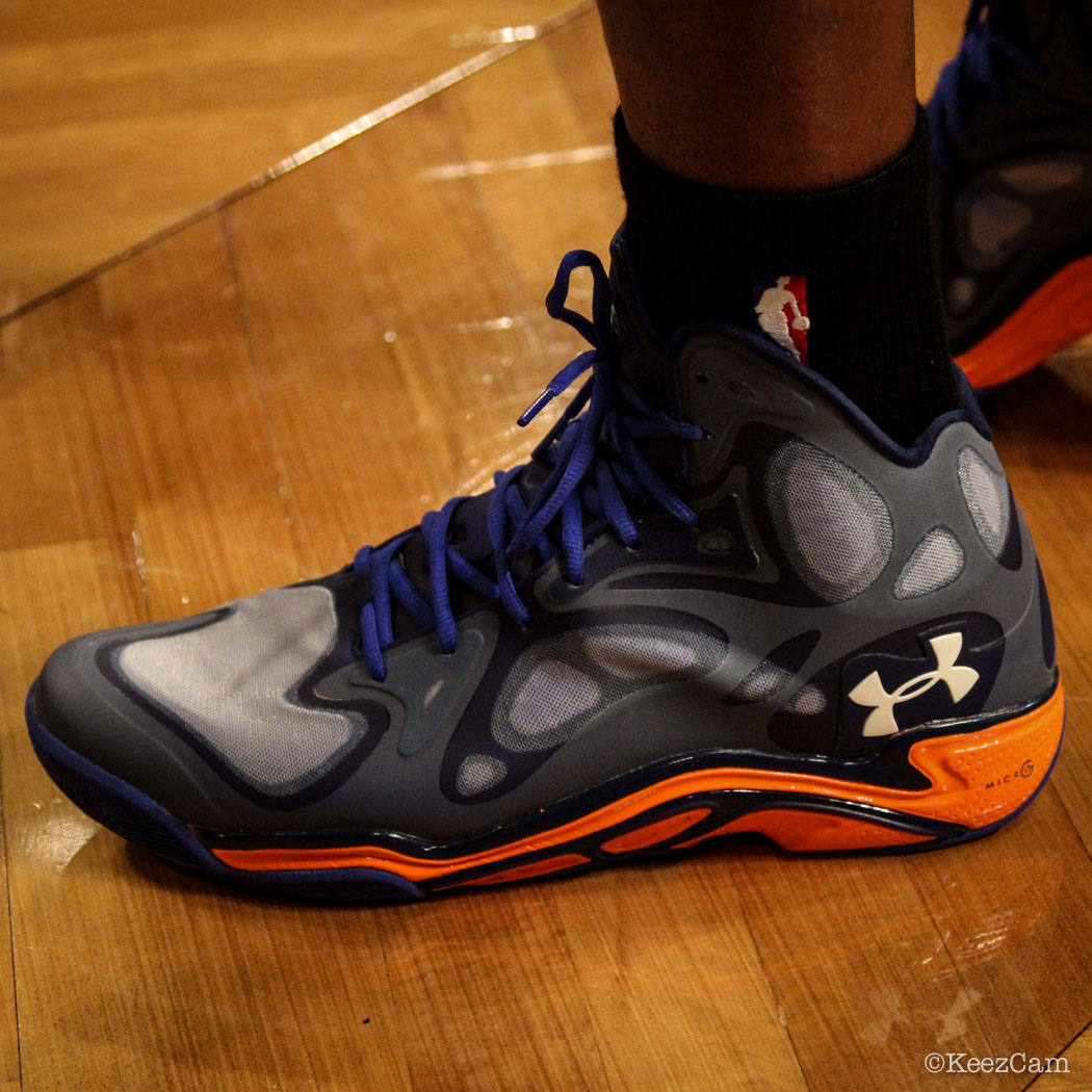 SoleWatch // Up Close At Barclays for Nets vs Knicks - Raymond Felton wearing Under Armour Anatomix Spawn PE