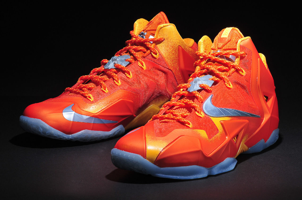 Nike LeBron 11 in Urban Orange Light Armory Blue and Laser Orange