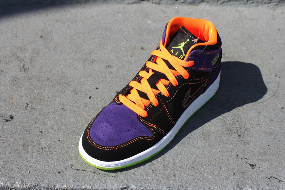 Air Jordan 1 Phat GS Kids Black Purple Orange Halloween 364771-047 (2)