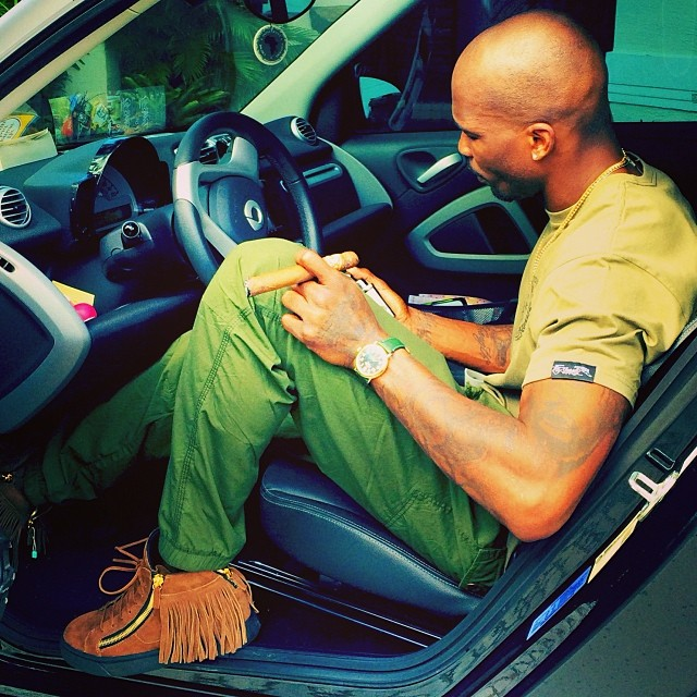Chad Johnson wearing Giuseppe Zanotti Maxi Fringe Sneakers
