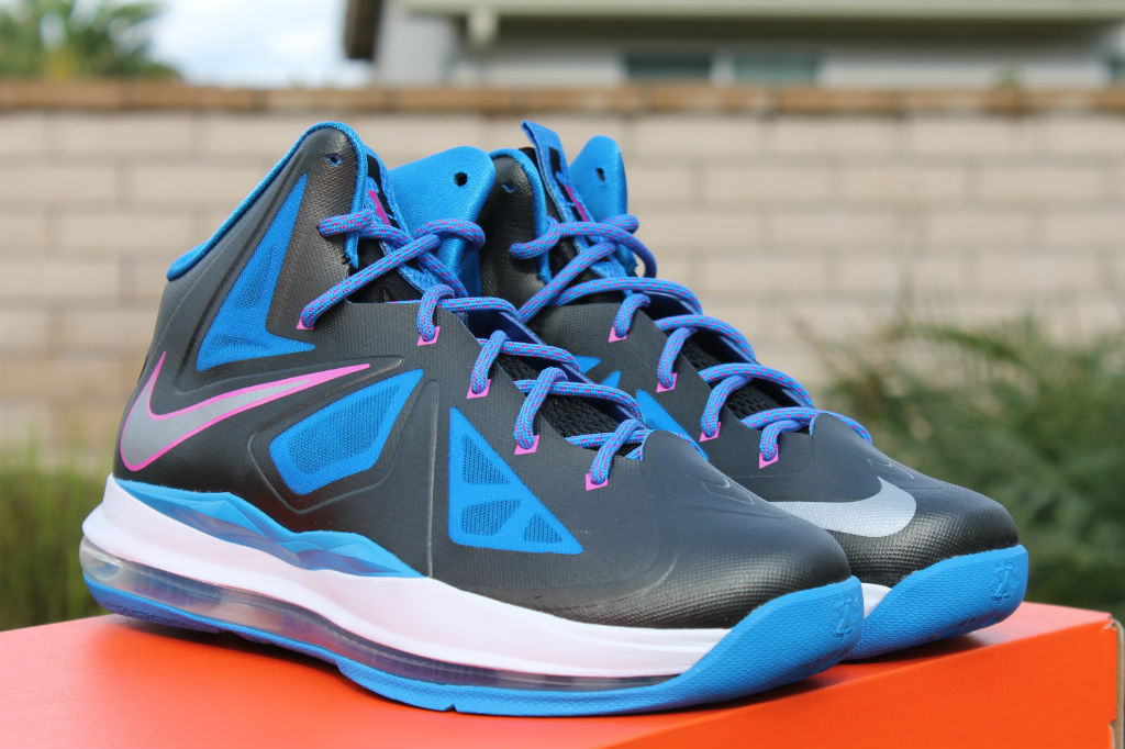 huge selection of dc7ac 87b26 Nike LeBron X 10 GS Black Metallic Silver Photo Blue White 543564-005 (1