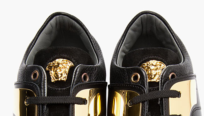 Versace Black Leather and Gold Plated