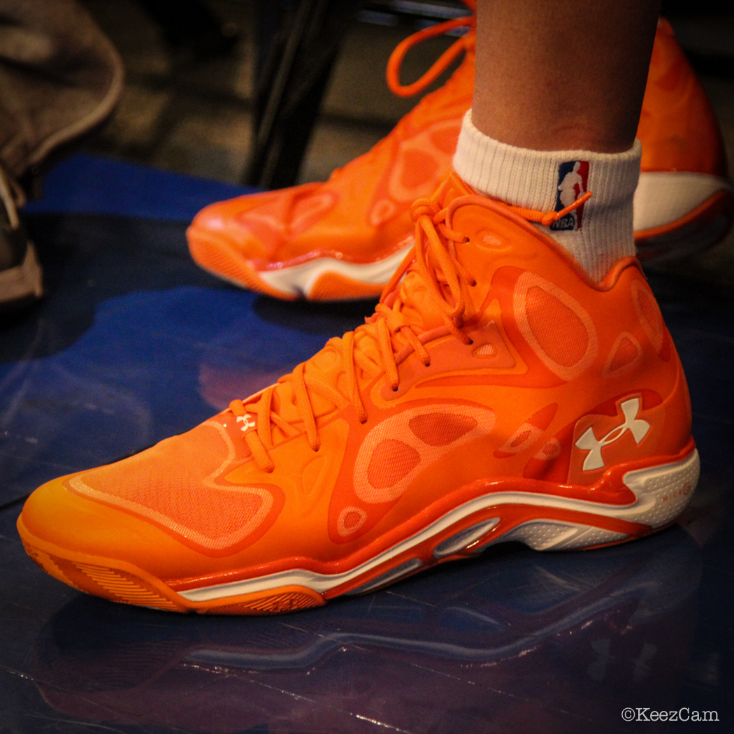 Sole Watch: Up Close At MSG for Knicks vs Nets - Cole Aldrich wearing Under Armour Anatomix Spawn