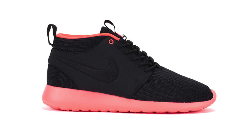 ea394849e245 Nike Roshe Run Mid - Black   Atomic Red