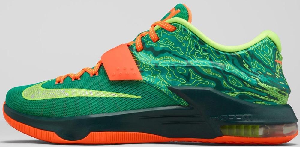 Nike KD VII Emerald Green/Metallic Silver-Dark Emerald-Total Orange
