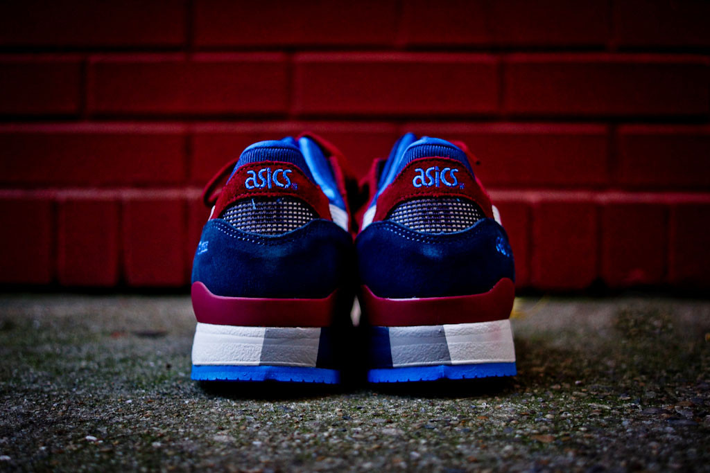 ASICS Gel Lyte III in Maroon and Blue heel