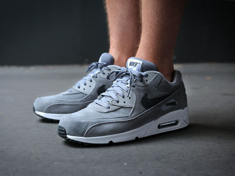 new arrival 71464 c3785 Nike Air Max 90 Essential Leather PRM Cool Grey 666578-002 (6)