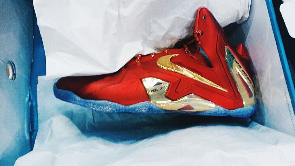 Nike LeBron XI 11 Elite SE Red/Gold 695226-670 (1)