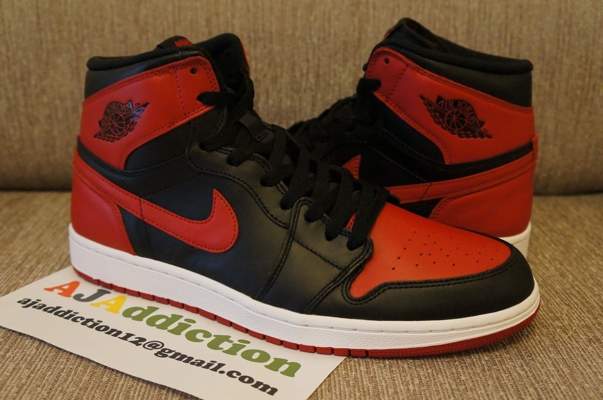 air jordan 1 retro high og black varsity red first. Black Bedroom Furniture Sets. Home Design Ideas