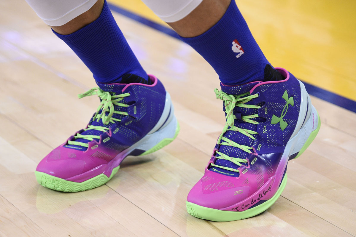 Stephen Curry wearing the 'Northern Lights' Under Armour Curry Two
