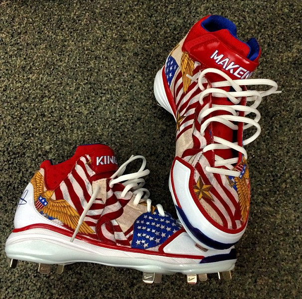 Shane Victorino's Nike Air Huarache 2KFresh Boston Strong custom