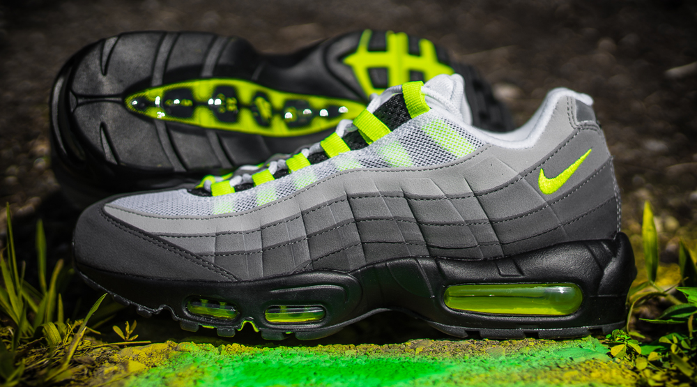 new styles 9bed2 d7d19 Neon Air Max 95 Images via Packer Shoes