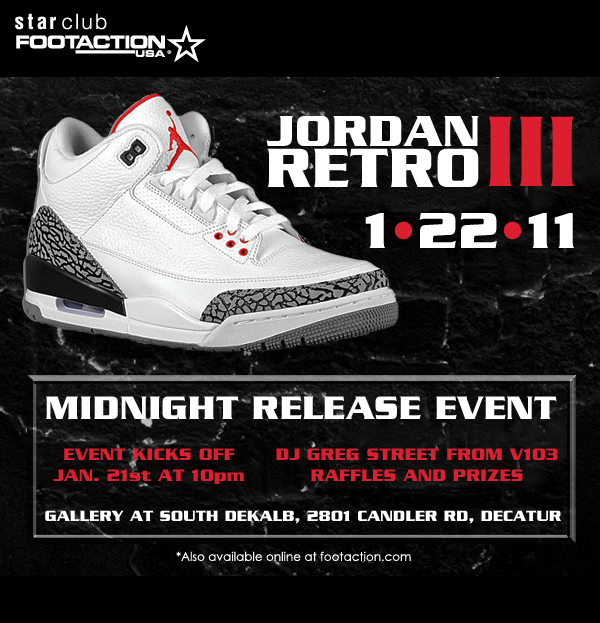 Cement Air Jordan Retro 3 Midnight Release Event Georgia
