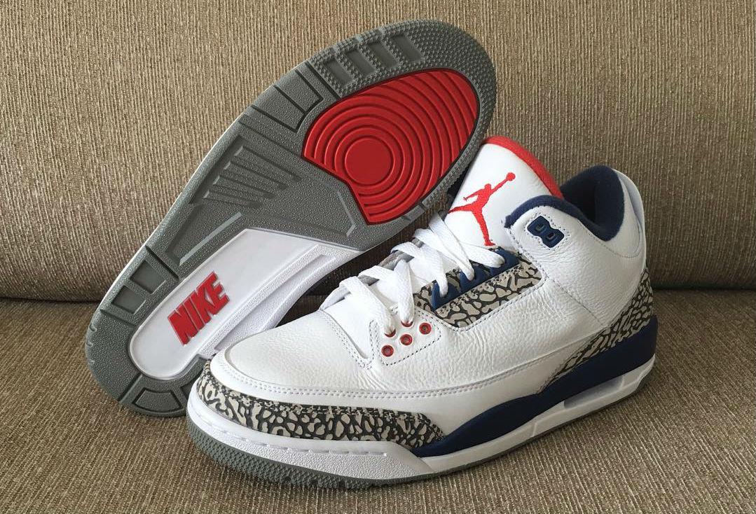 True Blue Jordan 3 Nike Air OG Sole 854262-106