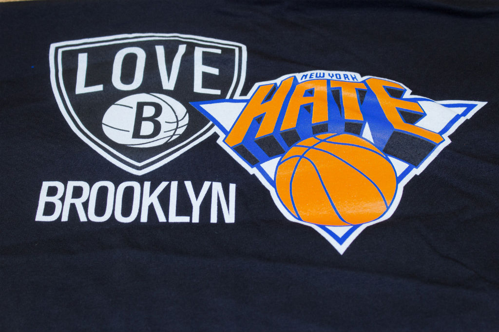Where Brooklyn At Love/Hate Knicks Nets T-Shirt (1)