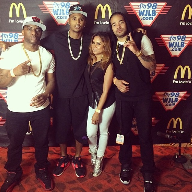 Charlamagne wearing Air Jordan XII 12 Flu Game; Trey Songz wearing Nike Air Max 90