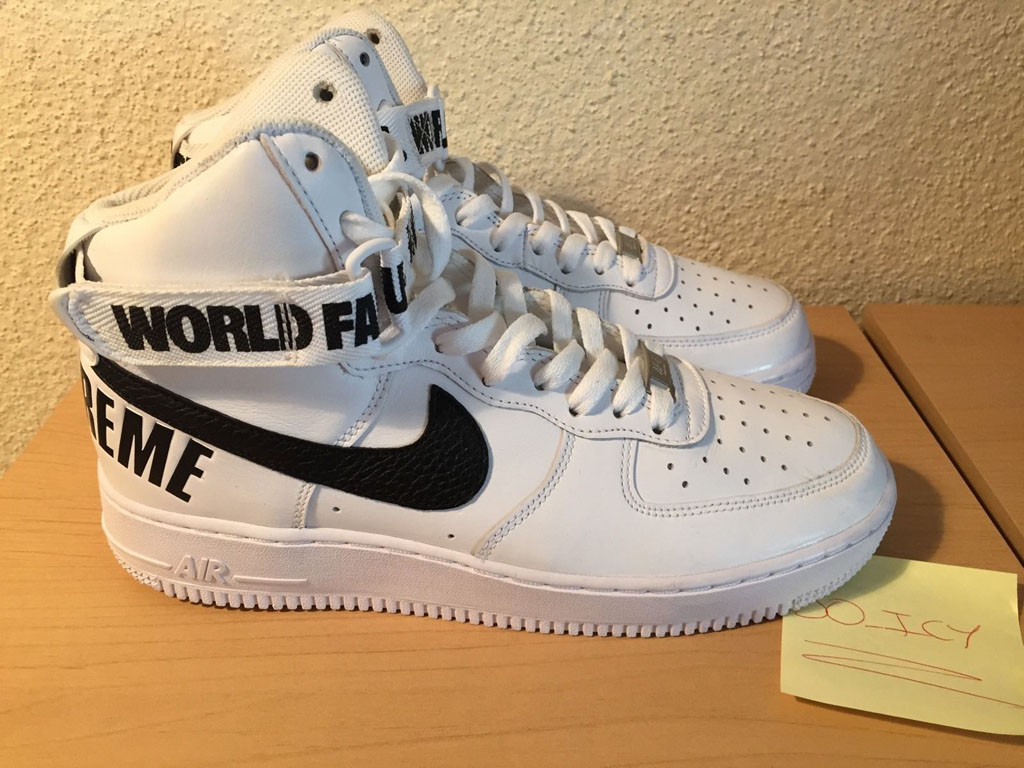 hot sale online 86d7e 5d877 Supreme x Nike Air Force 1 High White (2)