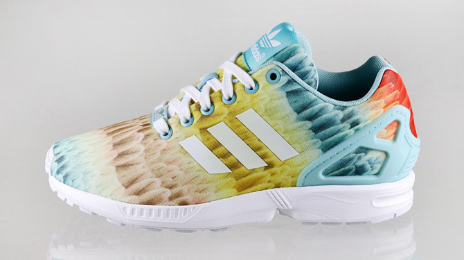 f3b08d2ef adidas ZX Fluxes of a Feather. The prints continue for this remixed runner.