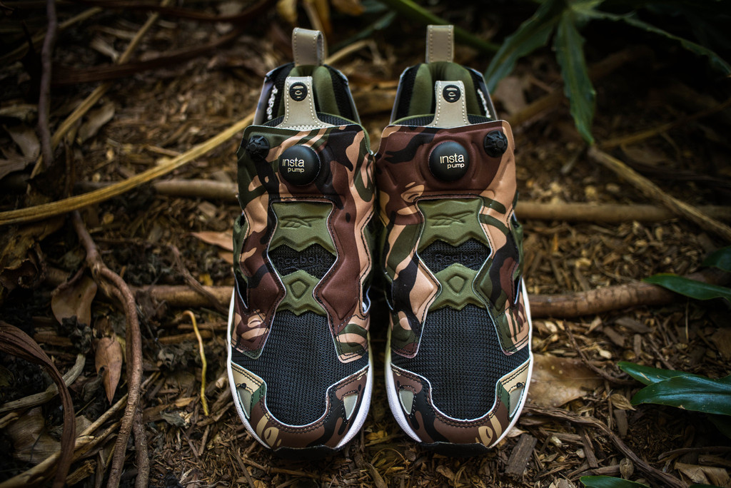 aape by a bathing ape x reebok pump fury front view