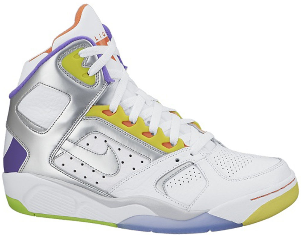 Nike Air Flight Lite High White/Metallic Silver-Hyper Grape-Electrolime