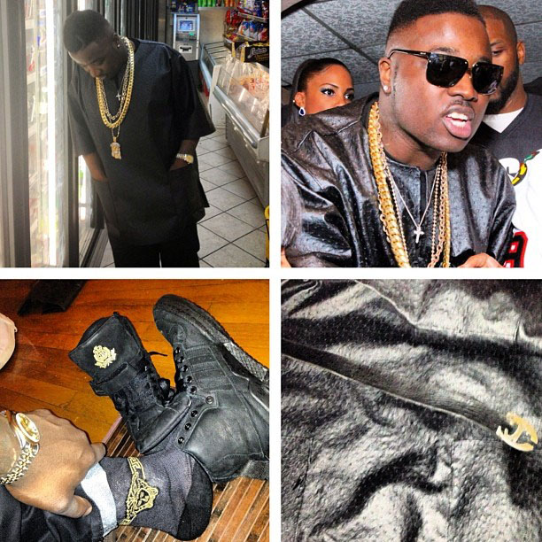 Troy Ave wearing Frank the Butcher x adidas Originals Forum Crest Hi