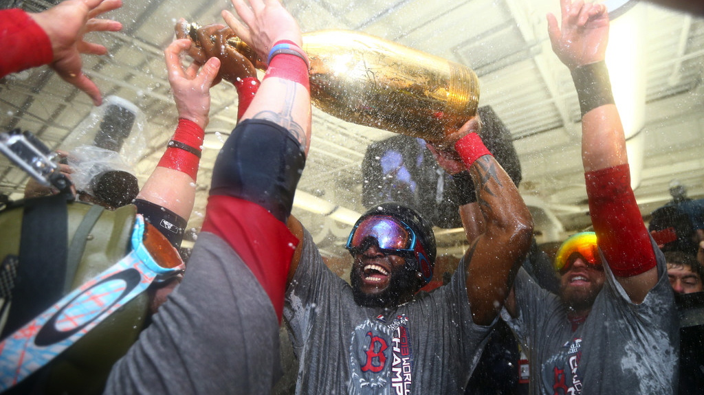 David Ortiz and the Boston Red Sox celebrate their 2013 World Series Victory