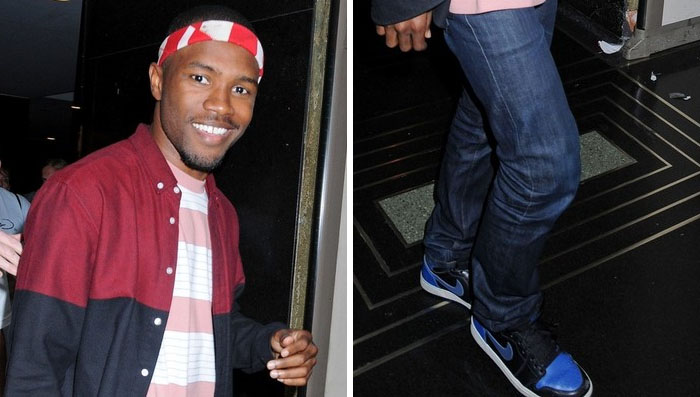 Frank Ocean wearing Air Jordan I 1 Black Royal