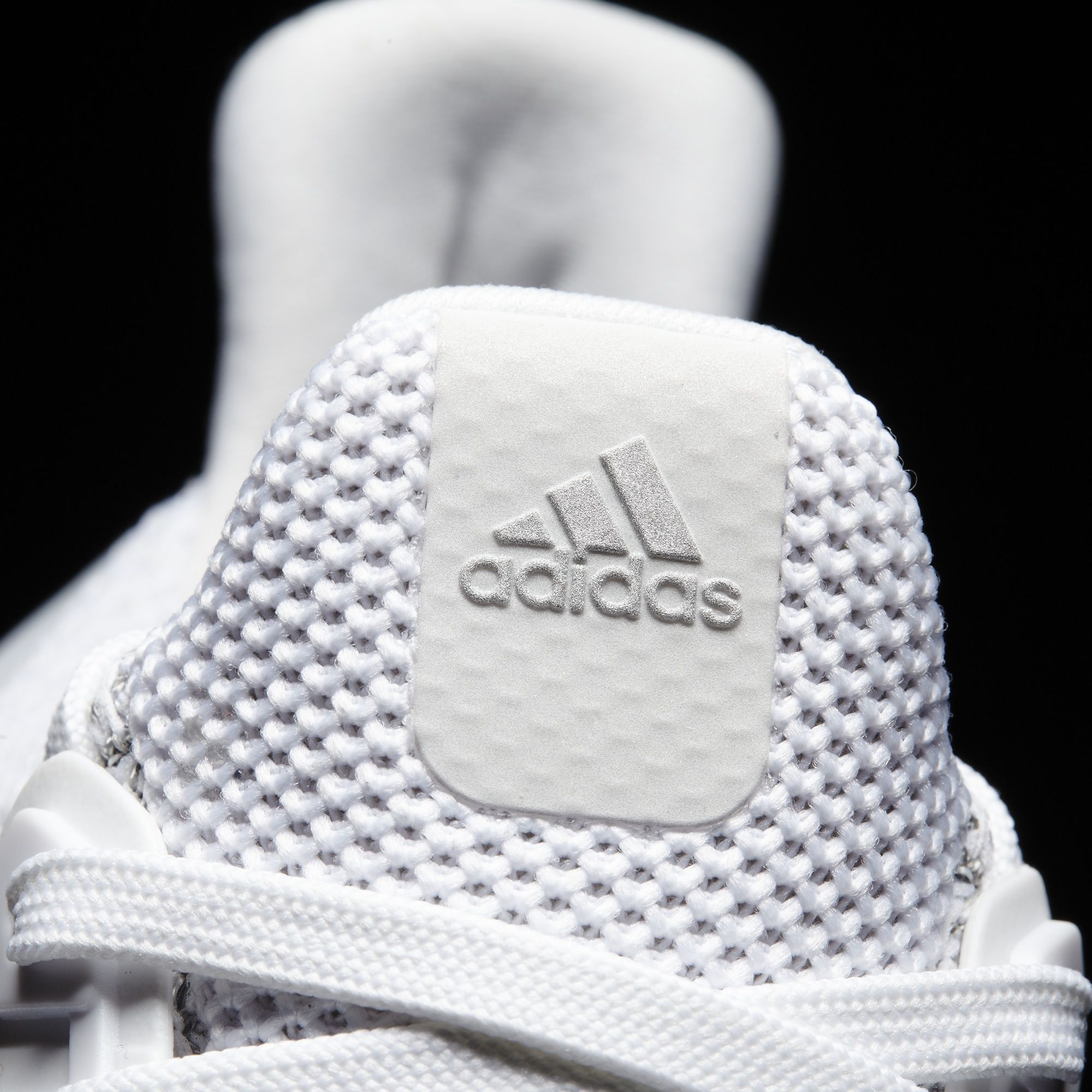White Adidas Ultra Boost Reflective Tongue Detail