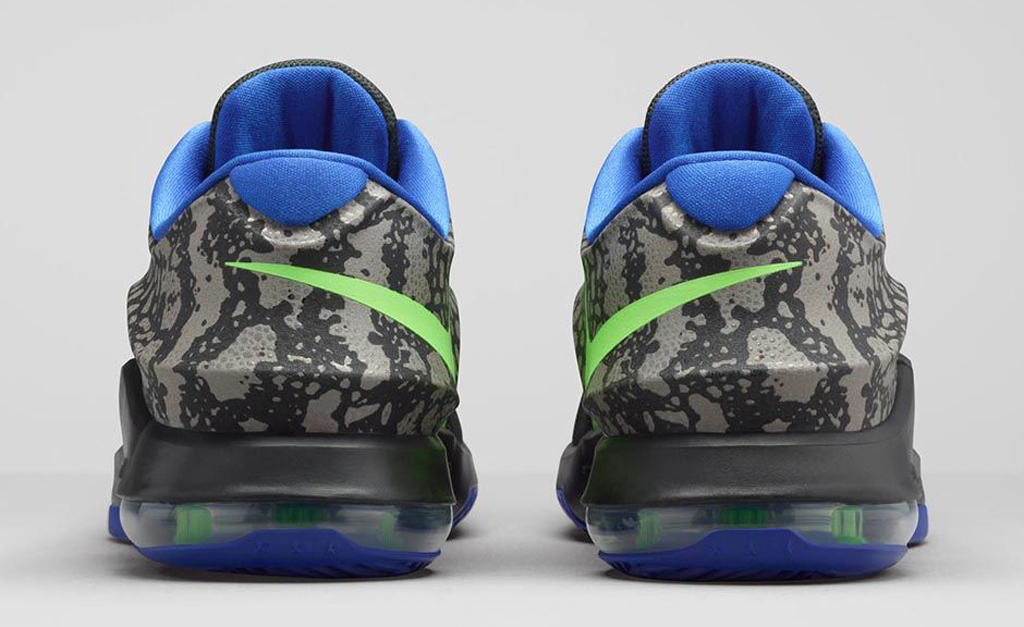 2ca39a194466 Nike KD 7  Electric Eel  Release Date  03 19 15. Color  Metallic  Pewter Flash Lime-Anthracite-Lyon Blue Style    653996-030. Price   150