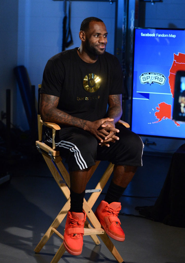 more photos 8e8ea 30c62 LeBron James wearing Nike Air Yeezy II 2 Red October (10)