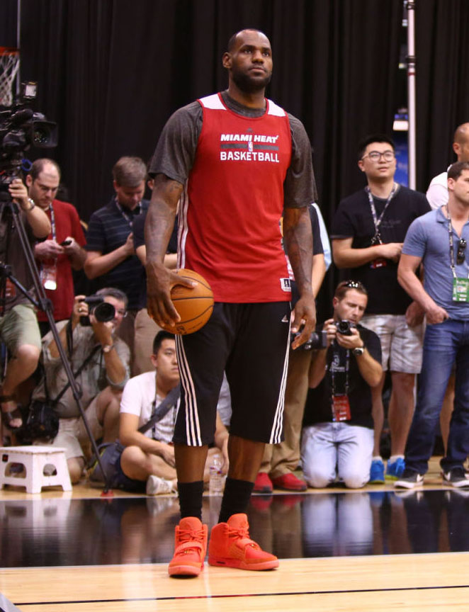 LeBron James wearing Nike Air Yeezy II 2 Red October (12)