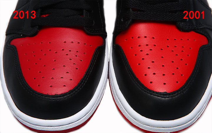 new product c22ac 74883 Air Jordan 1 High OG Black / Red 2001 Vs. 2013 Comparison ...