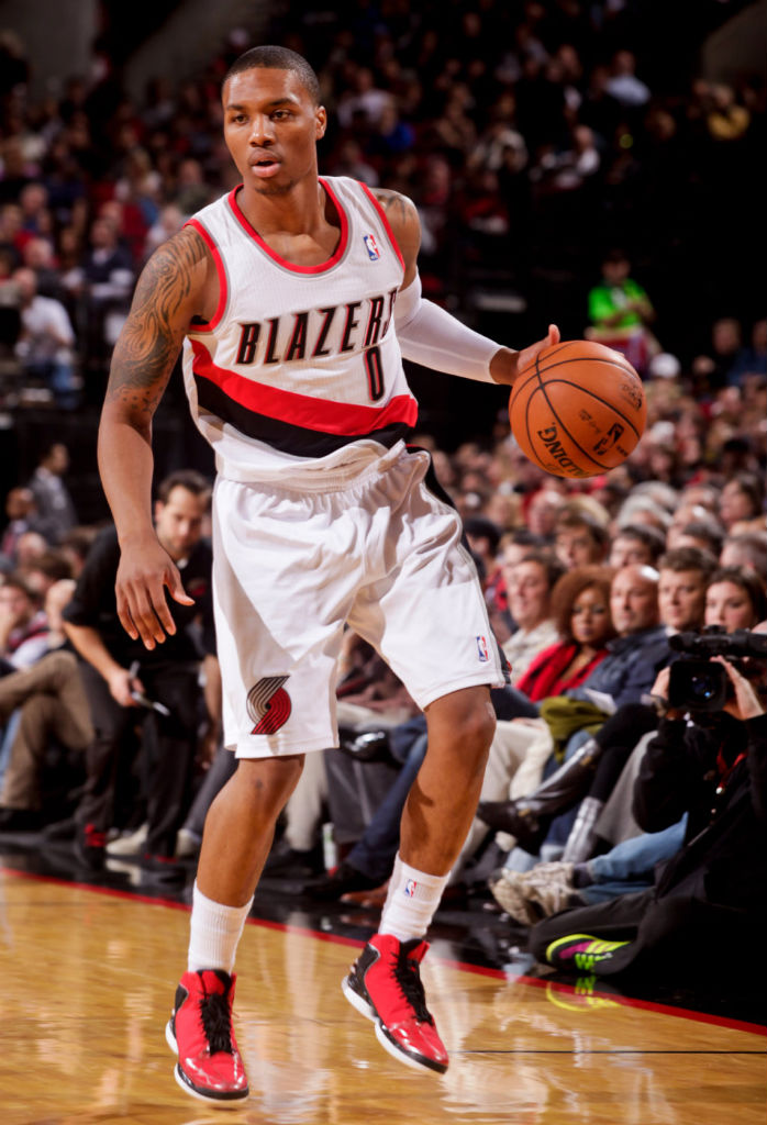 Damian Lillard wearing adidas Rose 773 Light Scarlet