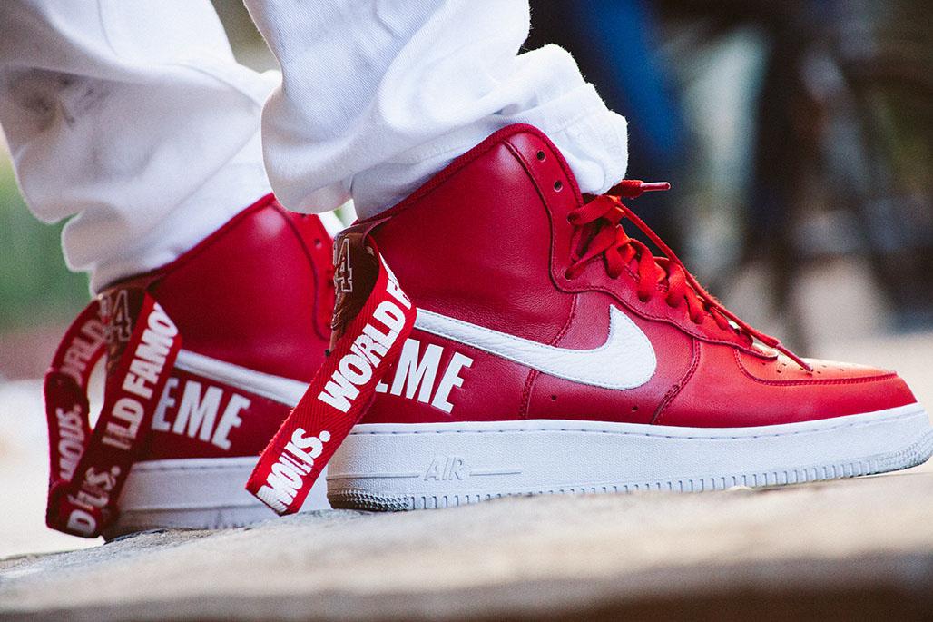supreme x nike air force 1 high red