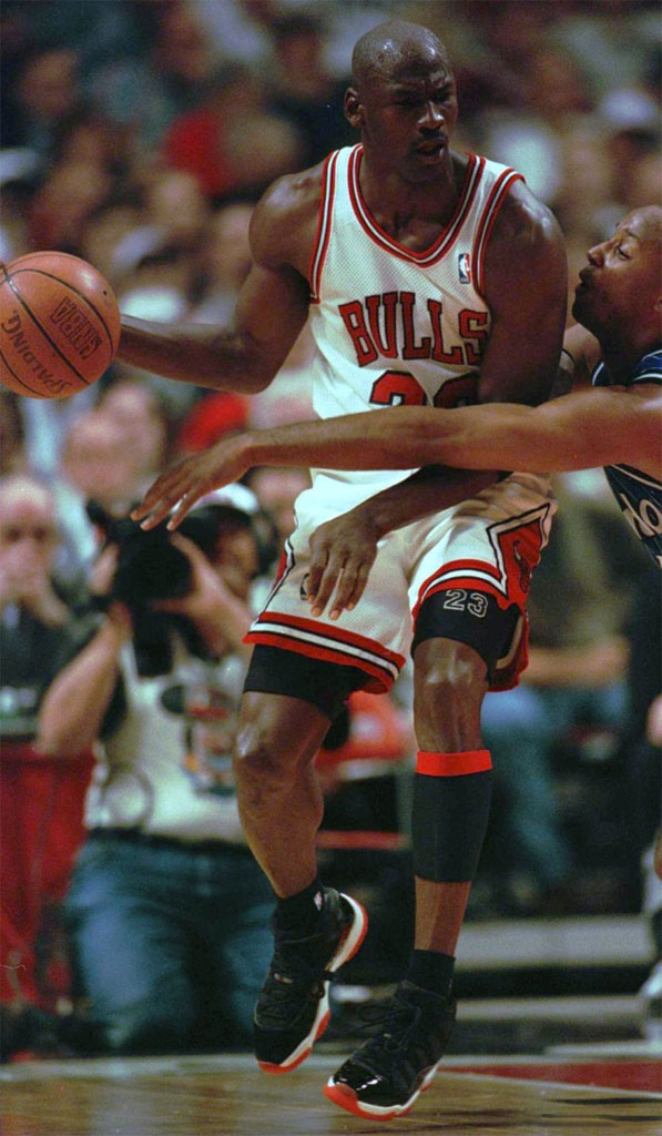 Michael Jordan wearing Air Jordan XI 11 Black/Red Bred (3)