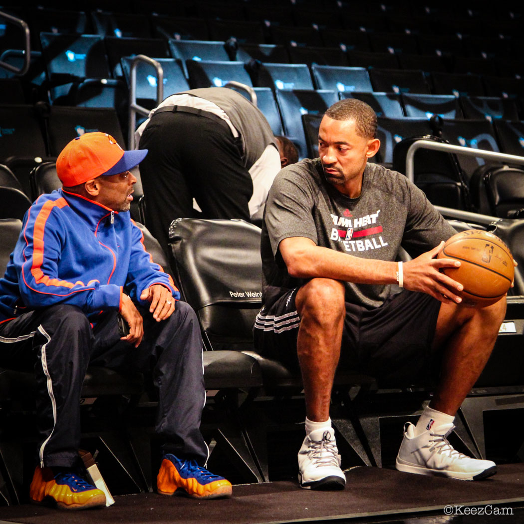 Sole Watch // Up Close At Barclays for Nets vs Heat - Spike Lee wearing Nike Air Foamposite One Knicks
