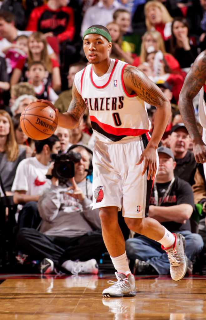 Damian Lillard wearing adidas Rose 3.5 Home