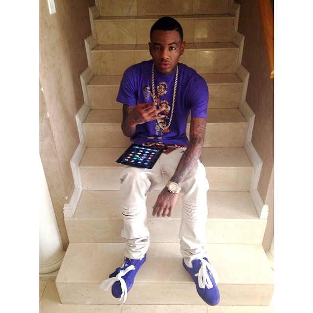 Soulja Boy wearing PUMA Suede Purple