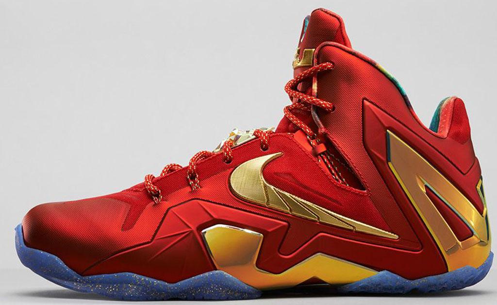Nike LeBron 11 Elite SE \u0026#39;Championship\u0026#39; 695226-670 University Red/Metallic Gold