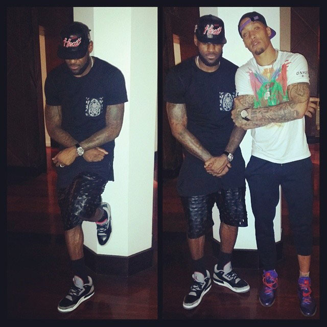 LeBron James wearing Air Jordan 3 Black Cement; Michael Beasley wearing Nike CJ81 Trainer Max Megatron